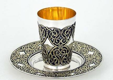 Sterling Silver Kiddush Cup Set Before this Shabbat