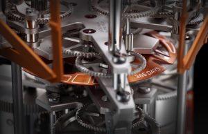 The Ulysse Nardin futurist ovoid table clock called UFO gets a suntan fort he Only Watch Biennal.
